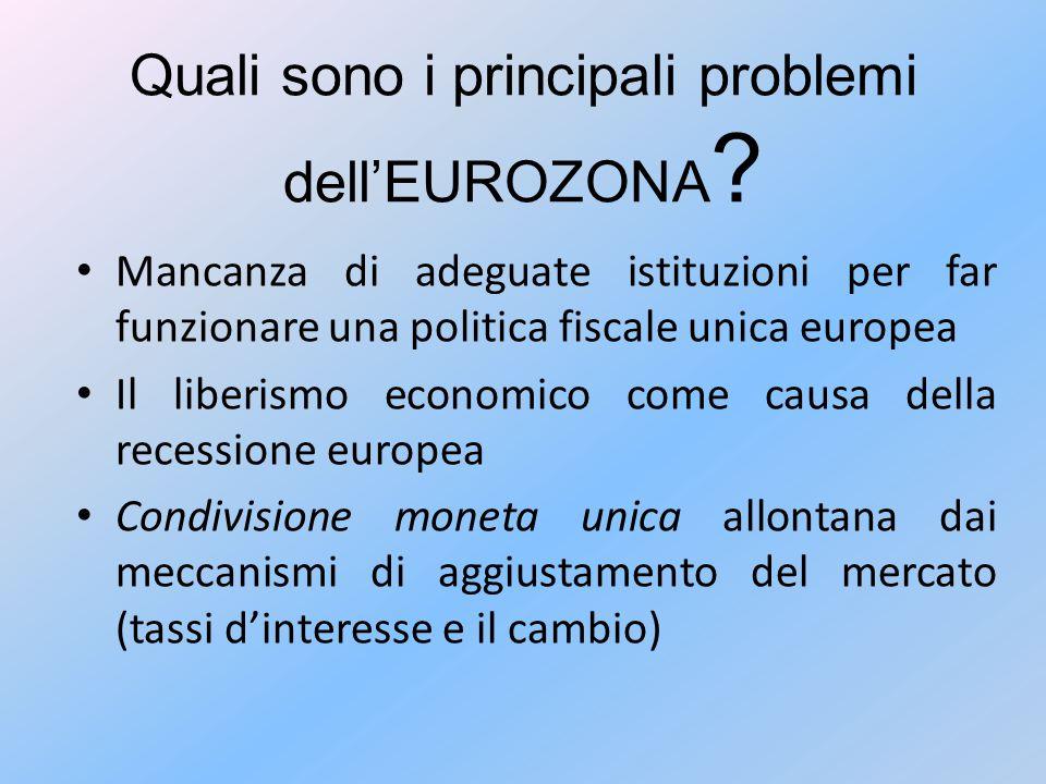Quali sono i principali problemi dell'EUROZONA ? Mancanza di adeguate istituzioni per far funzionare una politica fiscale unica europea Il liberismo e