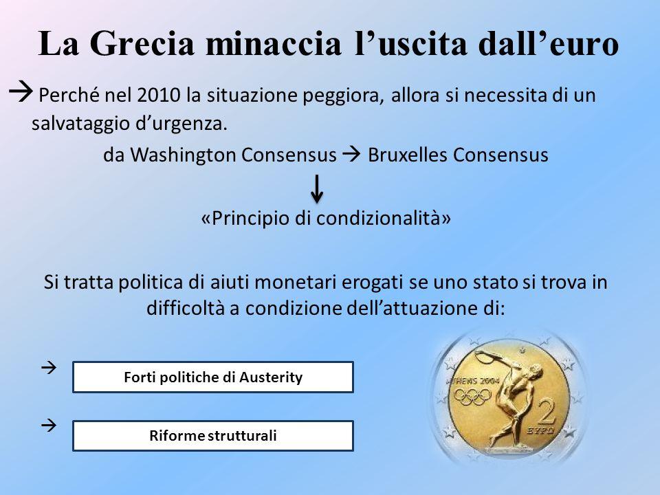 La Grecia minaccia l'uscita dall'euro  Perché nel 2010 la situazione peggiora, allora si necessita di un salvataggio d'urgenza.
