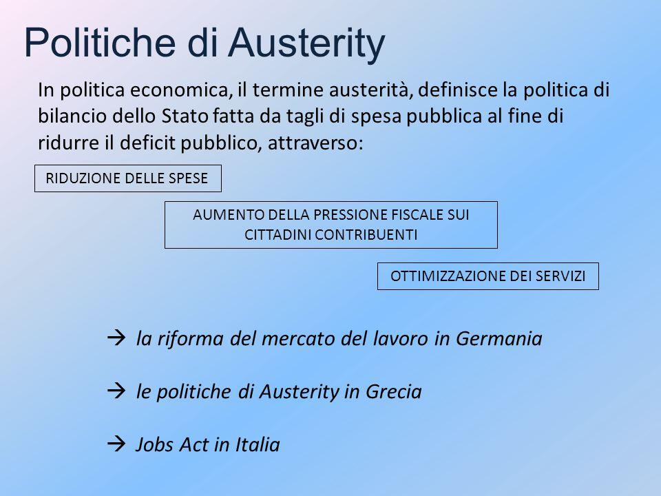 Politiche di Austerity In politica economica, il termine austerità, definisce la politica di bilancio dello Stato fatta da tagli di spesa pubblica al fine di ridurre il deficit pubblico, attraverso: RIDUZIONE DELLE SPESE OTTIMIZZAZIONE DEI SERVIZI AUMENTO DELLA PRESSIONE FISCALE SUI CITTADINI CONTRIBUENTI  la riforma del mercato del lavoro in Germania  le politiche di Austerity in Grecia  Jobs Act in Italia