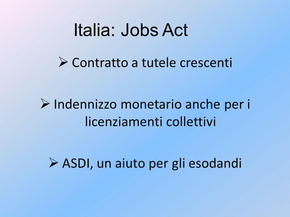 Italia: Jobs Act  Contratto a tutele crescenti  Indennizzo monetario anche per i licenziamenti collettivi  ASDI, un aiuto per gli esodandi