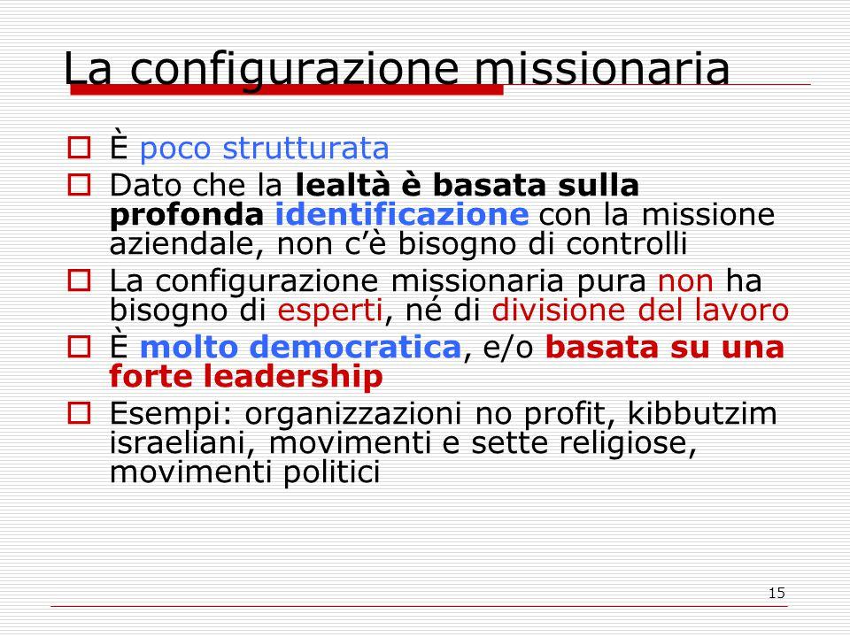 15 La configurazione missionaria  È poco strutturata  Dato che la lealtà è basata sulla profonda identificazione con la missione aziendale, non c'è