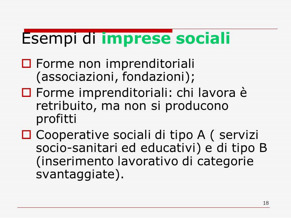 18 Esempi di imprese sociali  Forme non imprenditoriali (associazioni, fondazioni);  Forme imprenditoriali: chi lavora è retribuito, ma non si produ