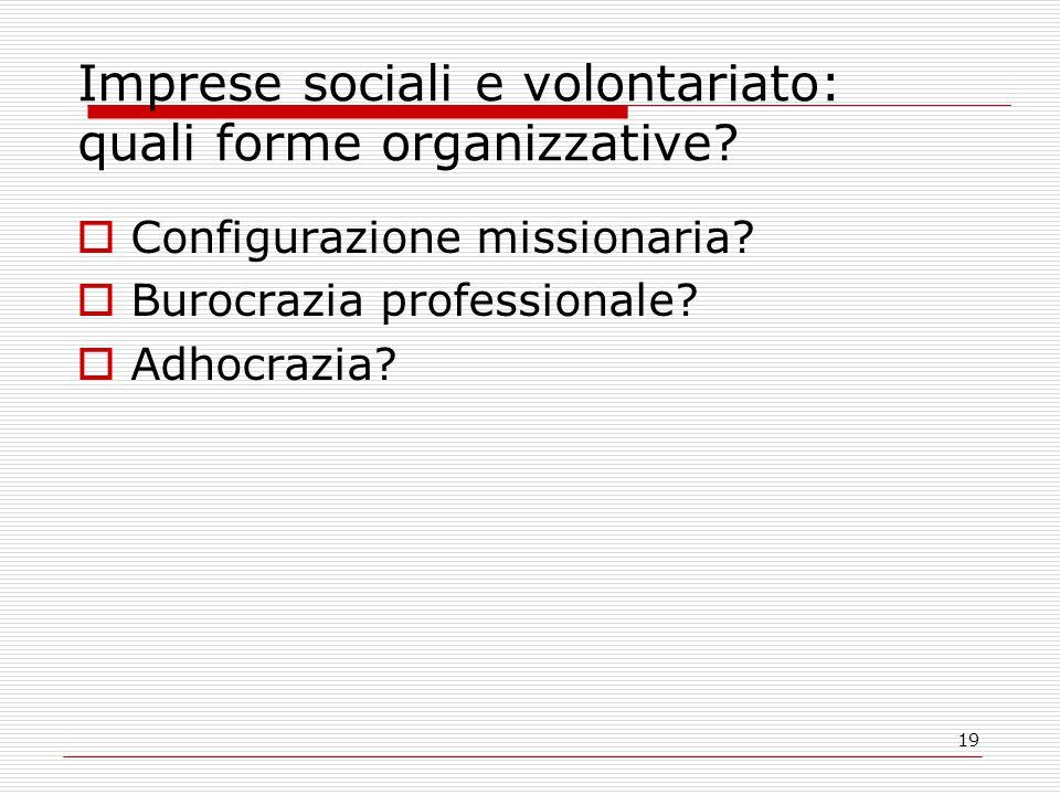 19 Imprese sociali e volontariato: quali forme organizzative?  Configurazione missionaria?  Burocrazia professionale?  Adhocrazia?