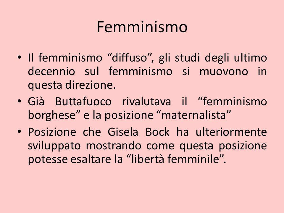 """Femminismo Il femminismo """"diffuso"""", gli studi degli ultimo decennio sul femminismo si muovono in questa direzione. Già Buttafuoco rivalutava il """"femmi"""