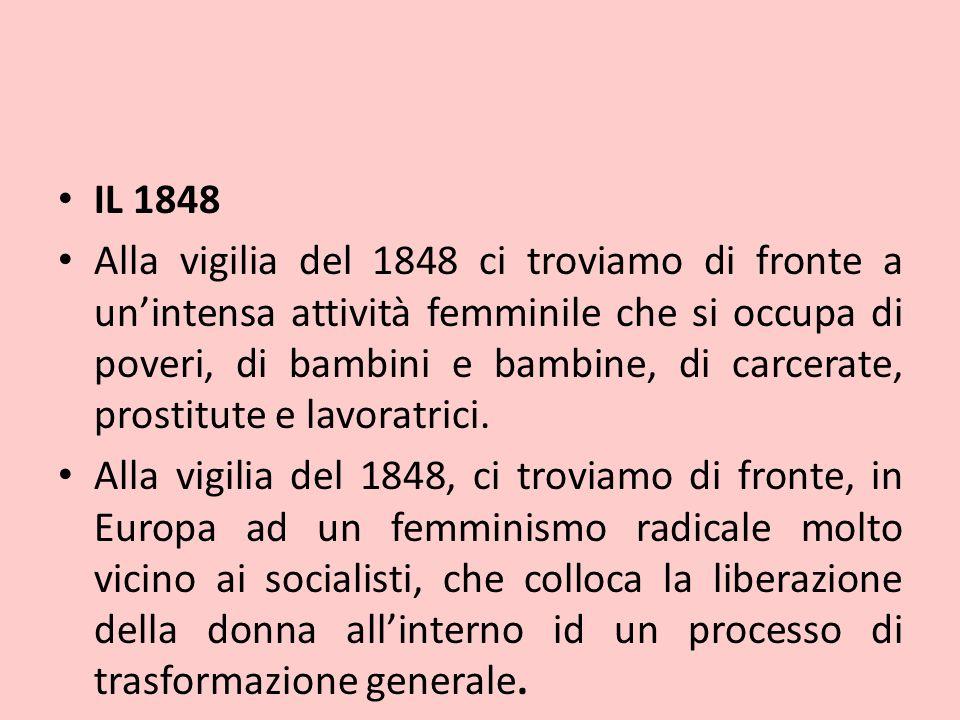 IL 1848 Alla vigilia del 1848 ci troviamo di fronte a un'intensa attività femminile che si occupa di poveri, di bambini e bambine, di carcerate, prost