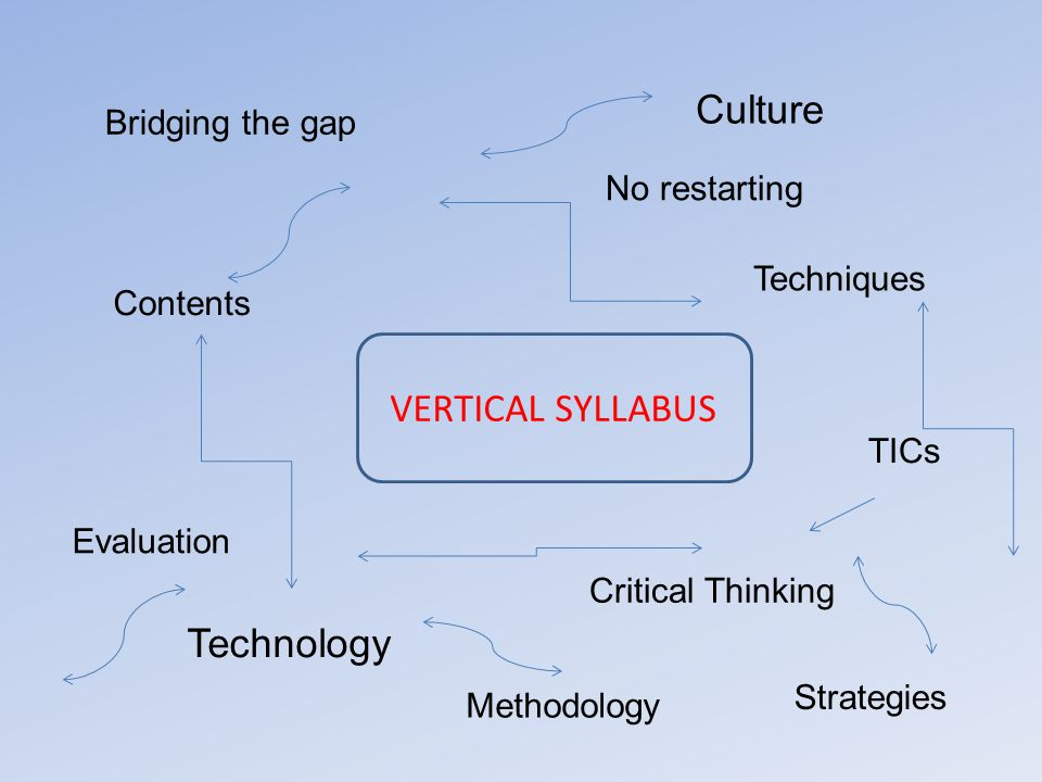 VERTICAL SYLLABUS Bridging the gap No restarting Contents Technology Critical Thinking Techniques TICs Methodology Evaluation Culture Strategies