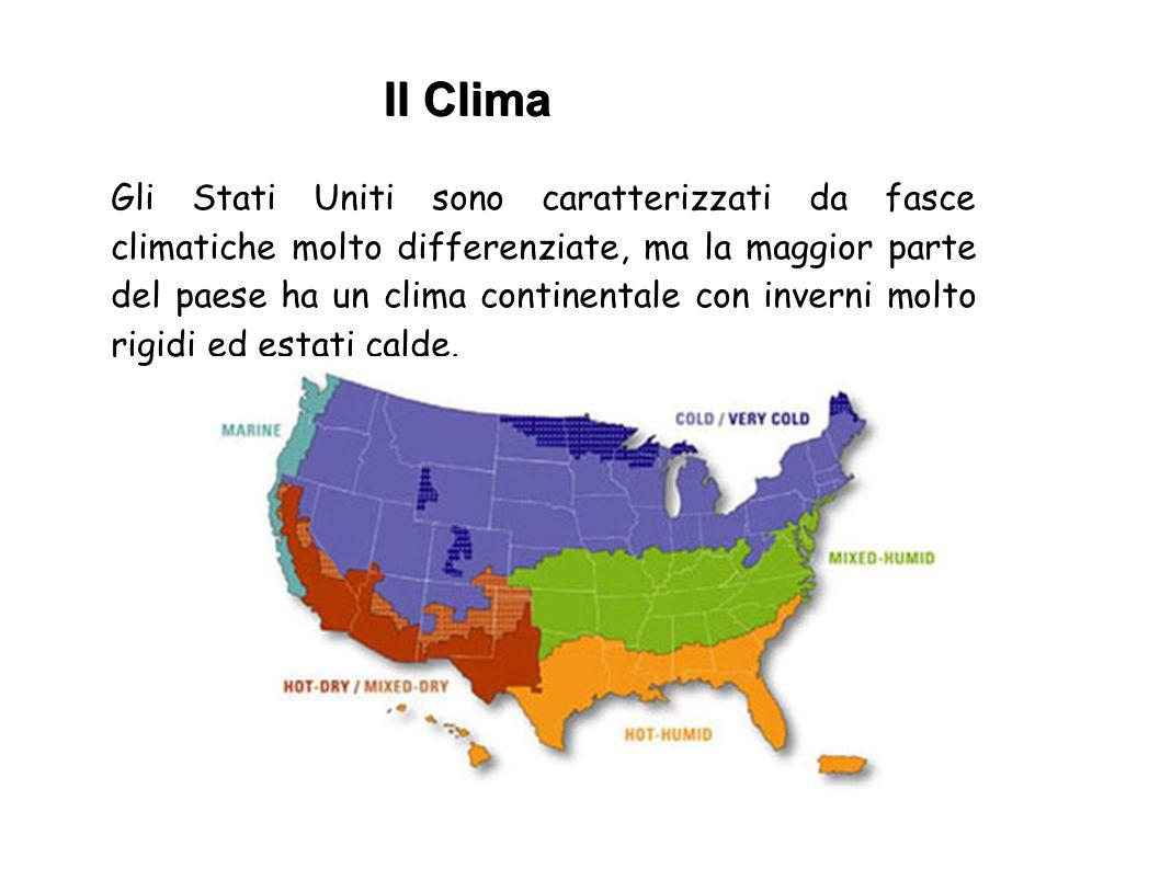 Gli Stati Uniti sono caratterizzati da fasce climatiche molto differenziate, ma la maggior parte del paese ha un clima continentale con inverni molto