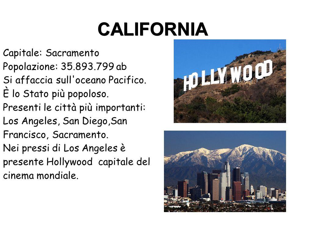 CALIFORNIA Capitale: Sacramento Popolazione: 35.893.799 ab Si affaccia sull'oceano Pacifico. È lo Stato più popoloso. Presenti le città più importanti