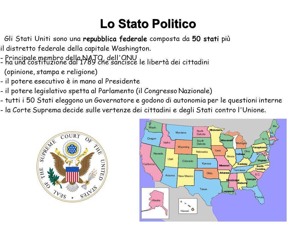 Gli Stati Uniti sono una repubblica federale composta da 50 stati più il distretto federale della capitale Washington. - Principale membro della NATO,