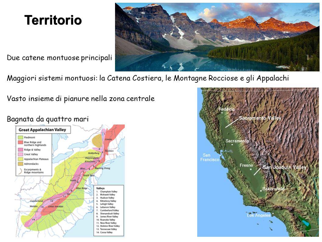 Territorio Due catene montuose principali Maggiori sistemi montuosi: la Catena Costiera, le Montagne Rocciose e gli Appalachi Vasto insieme di pianure