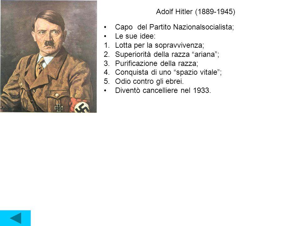 Adolf Hitler (1889-1945) Capo del Partito Nazionalsocialista; Le sue idee: 1.Lotta per la sopravvivenza; 2.Superiorità della razza ariana ; 3.Purificazione della razza; 4.Conquista di uno spazio vitale ; 5.Odio contro gli ebrei.
