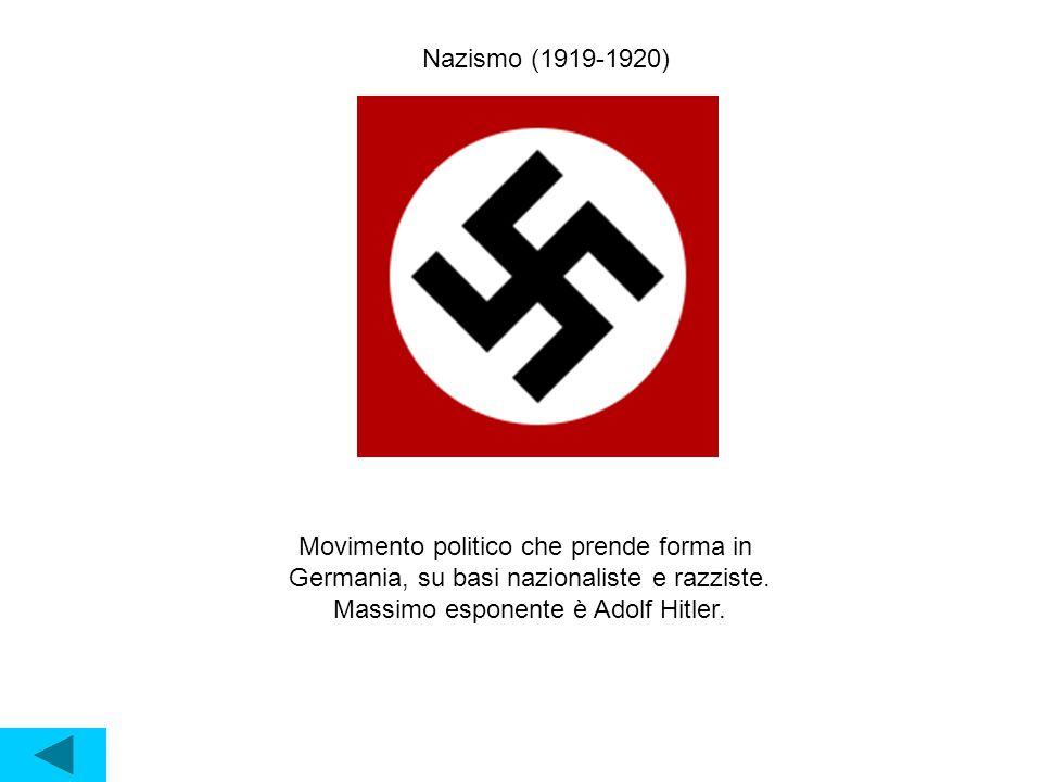 Nazismo (1919-1920) Movimento politico che prende forma in Germania, su basi nazionaliste e razziste.