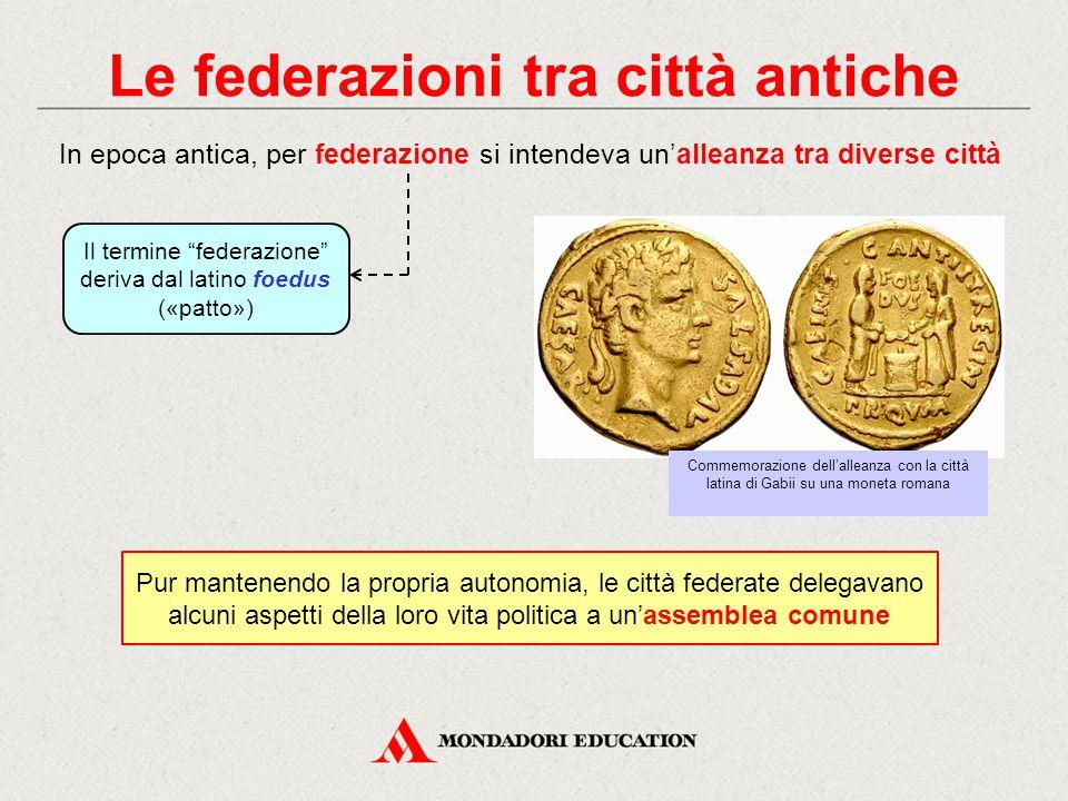 """Le federazioni tra città antiche Il termine """"federazione"""" deriva dal latino foedus («patto») In epoca antica, per federazione si intendeva un'alleanza"""