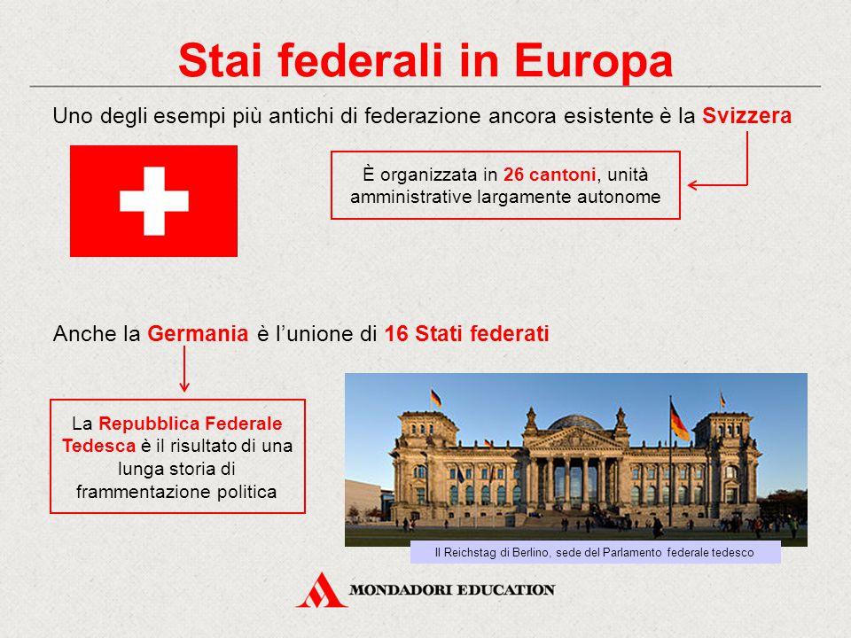 Stai federali in Europa Uno degli esempi più antichi di federazione ancora esistente è la Svizzera Anche la Germania è l'unione di 16 Stati federati L
