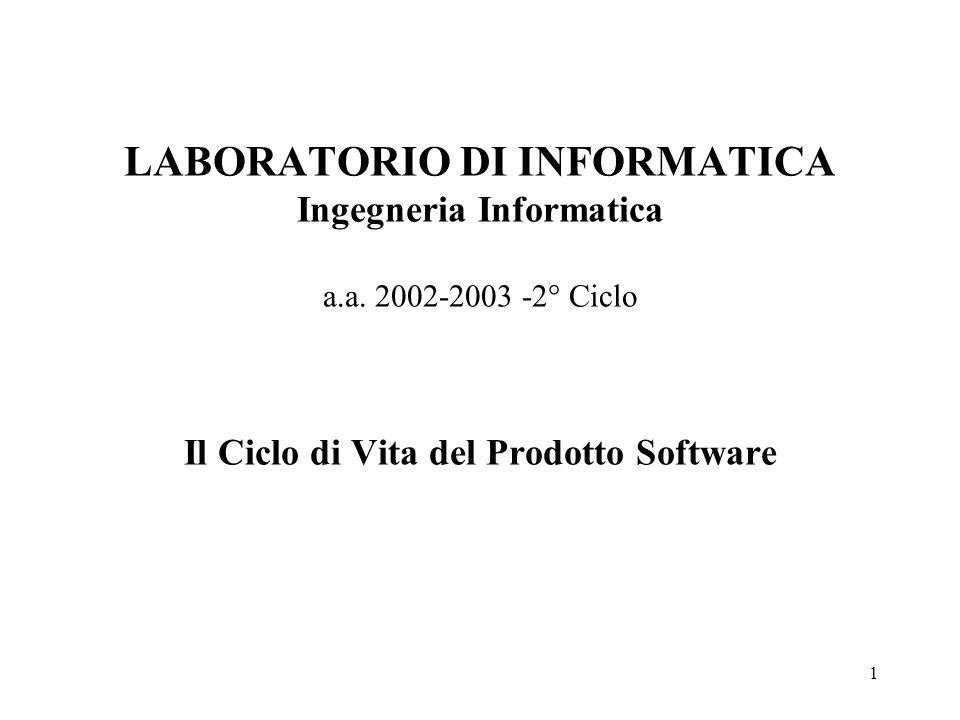 1 LABORATORIO DI INFORMATICA Ingegneria Informatica a.a. 2002-2003 -2° Ciclo Il Ciclo di Vita del Prodotto Software