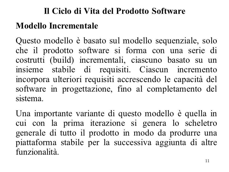 11 Il Ciclo di Vita del Prodotto Software Modello Incrementale Questo modello è basato sul modello sequenziale, solo che il prodotto software si forma