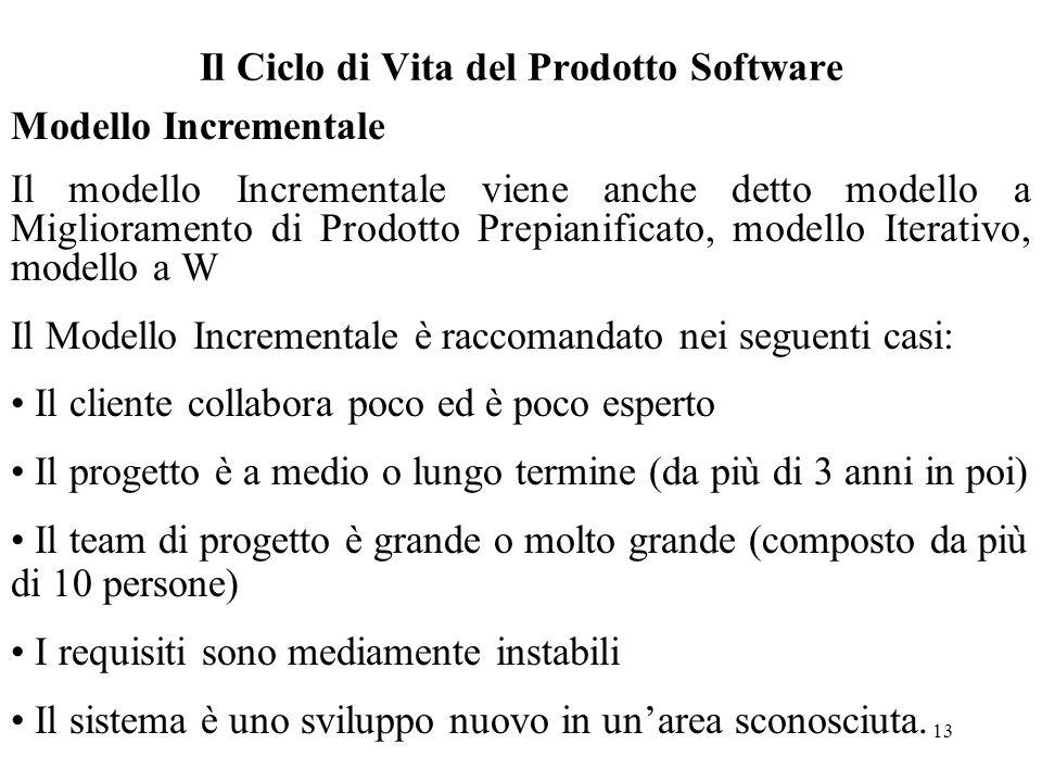 13 Il Ciclo di Vita del Prodotto Software Modello Incrementale Il modello Incrementale viene anche detto modello a Miglioramento di Prodotto Prepianif