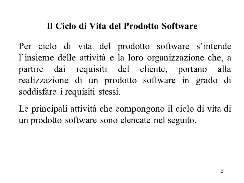 2 Il Ciclo di Vita del Prodotto Software Per ciclo di vita del prodotto software s'intende l'insieme delle attività e la loro organizzazione che, a pa