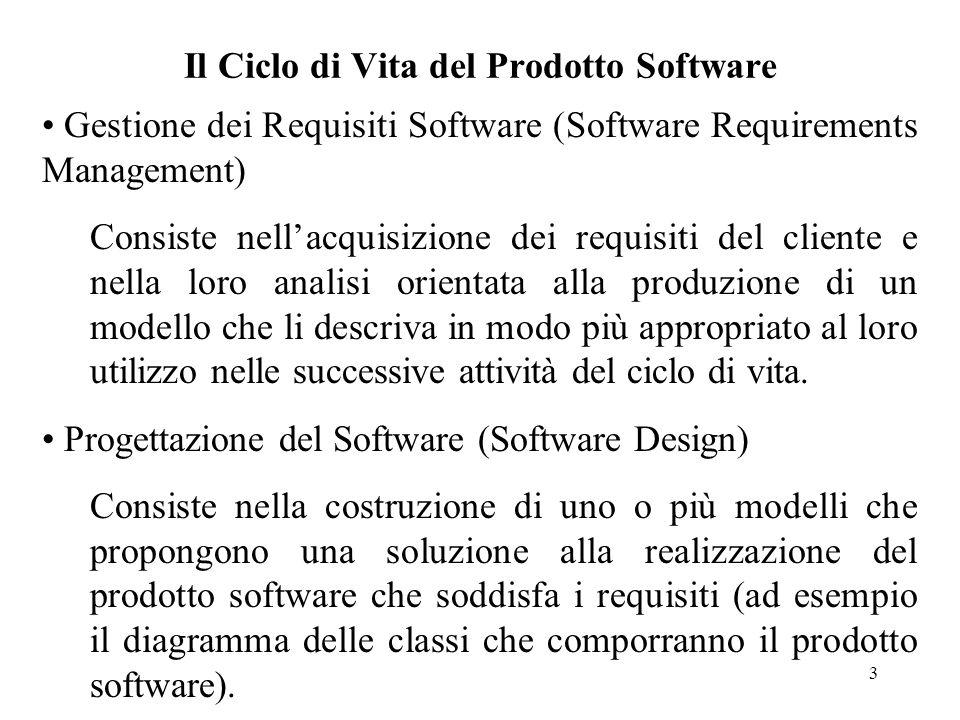 4 Il Ciclo di Vita del Prodotto Software Implementazione del software (Software Implementation) Consiste nelle attività di codifica e test di tutti i componenti (ad esempio le classi) che costituiscono il prodotto software descritto con i modelli del relativo progetto.
