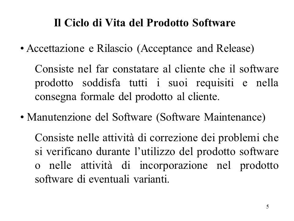 5 Il Ciclo di Vita del Prodotto Software Accettazione e Rilascio (Acceptance and Release) Consiste nel far constatare al cliente che il software prodo