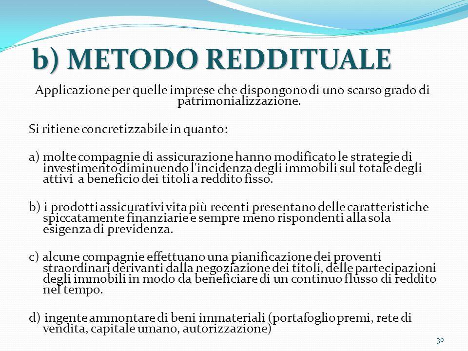 b) METODO REDDITUALE Applicazione per quelle imprese che dispongono di uno scarso grado di patrimonializzazione. Si ritiene concretizzabile in quanto: