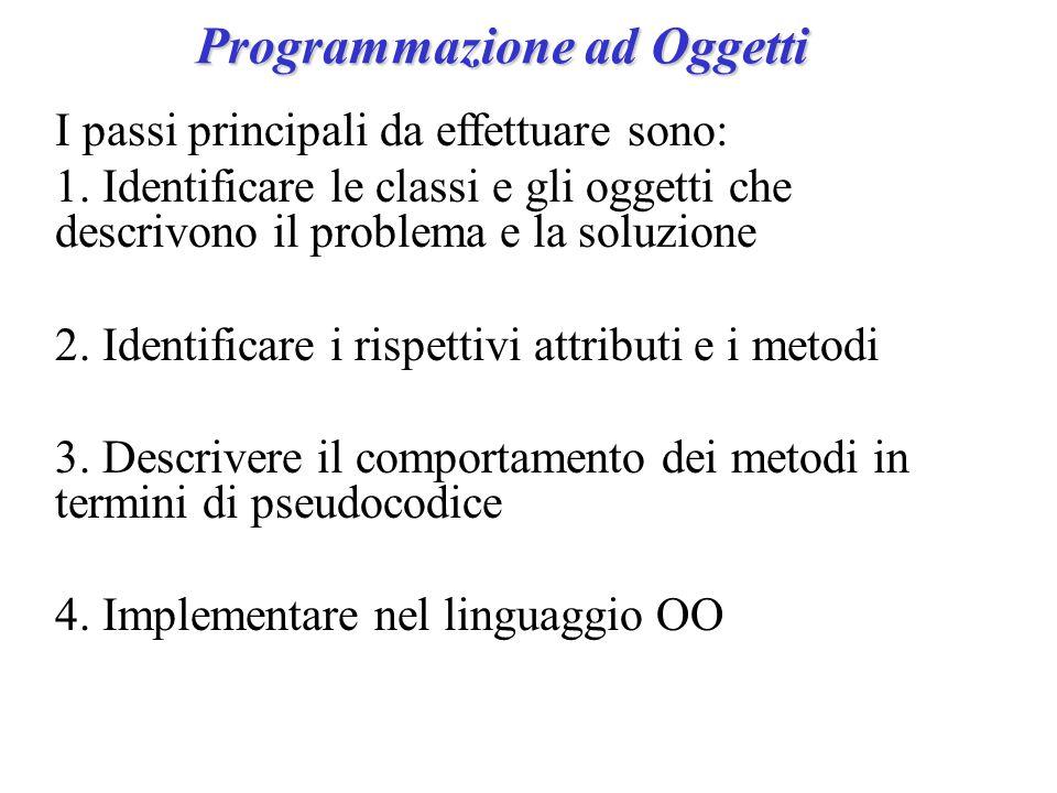 Programmazione ad Oggetti I passi principali da effettuare sono: 1.