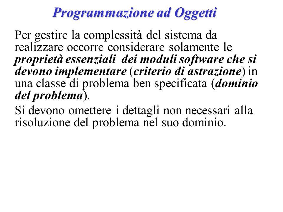 Programmazione ad Oggetti Per gestire la complessità del sistema da realizzare occorre considerare solamente le proprietà essenziali dei moduli software che si devono implementare (criterio di astrazione) in una classe di problema ben specificata (dominio del problema).
