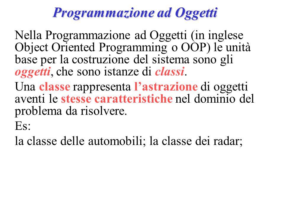Programmazione ad Oggetti Nella Programmazione ad Oggetti (in inglese Object Oriented Programming o OOP) le unità base per la costruzione del sistema sono gli oggetti, che sono istanze di classi.