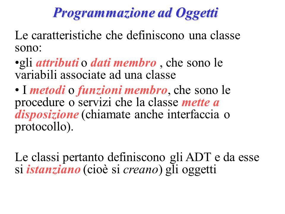 Programmazione ad Oggetti Le caratteristiche che definiscono una classe sono: gli attributi o dati membro, che sono le variabili associate ad una classe I metodi o funzioni membro, che sono le procedure o servizi che la classe mette a disposizione (chiamate anche interfaccia o protocollo).