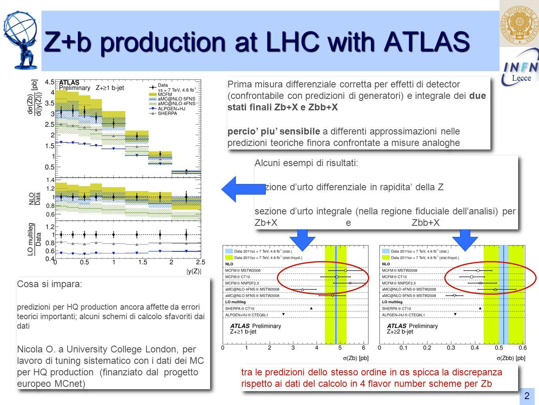 Lecce 2 Z+b production at LHC with ATLAS Alcuni esempi di risultati: sezione d'urto differenziale in rapidita' della Z sezione d'urto integrale (nella regione fiduciale dell'analisi) per Zb+X e Zbb+X Alcuni esempi di risultati: sezione d'urto differenziale in rapidita' della Z sezione d'urto integrale (nella regione fiduciale dell'analisi) per Zb+X e Zbb+X Prima misura differenziale corretta per effetti di detector (confrontabile con predizioni di generatori) e integrale dei due stati finali Zb+X e Zbb+X percio' piu' sensibile a differenti approssimazioni nelle predizioni teoriche finora confrontate a misure analoghe Prima misura differenziale corretta per effetti di detector (confrontabile con predizioni di generatori) e integrale dei due stati finali Zb+X e Zbb+X percio' piu' sensibile a differenti approssimazioni nelle predizioni teoriche finora confrontate a misure analoghe tra le predizioni dello stesso ordine in αs spicca la discrepanza rispetto ai dati del calcolo in 4 flavor number scheme per Zb Cosa si impara: predizioni per HQ production ancora affette da errori teorici importanti; alcuni schemi di calcolo sfavoriti dai dati Nicola O.