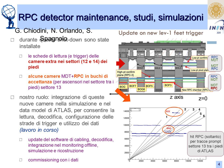 Lecce RPC detector maintenance, studi, simulazioni G.
