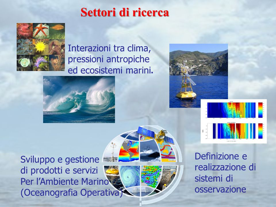Settori di ricerca Interazioni tra clima, pressioni antropiche ed ecosistemi marini. Sviluppo e gestione di prodotti e servizi Per l'Ambiente Marino (