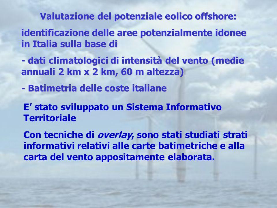 Valutazione del potenziale eolico offshore: identificazione delle aree potenzialmente idonee in Italia sulla base di - dati climatologici di intensità