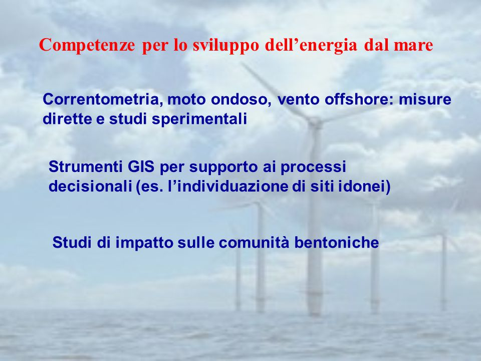 Correntometria, moto ondoso, vento offshore: misure dirette e studi sperimentali Studi di impatto sulle comunità bentoniche Strumenti GIS per supporto