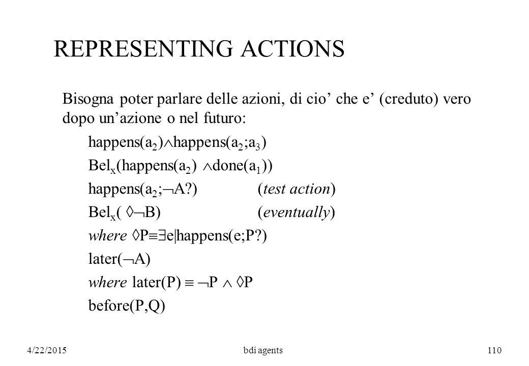 4/22/2015bdi agents110 REPRESENTING ACTIONS Bisogna poter parlare delle azioni, di cio' che e' (creduto) vero dopo un'azione o nel futuro: happens(a 2 )  happens(a 2 ;a 3 ) Bel x (happens(a 2 )  done(a 1 )) happens(a 2 ;  A )(test action) Bel x (  B)(eventually) where  P  e|happens(e;P ) later(  A) where later(P)   P   P before(P,Q)
