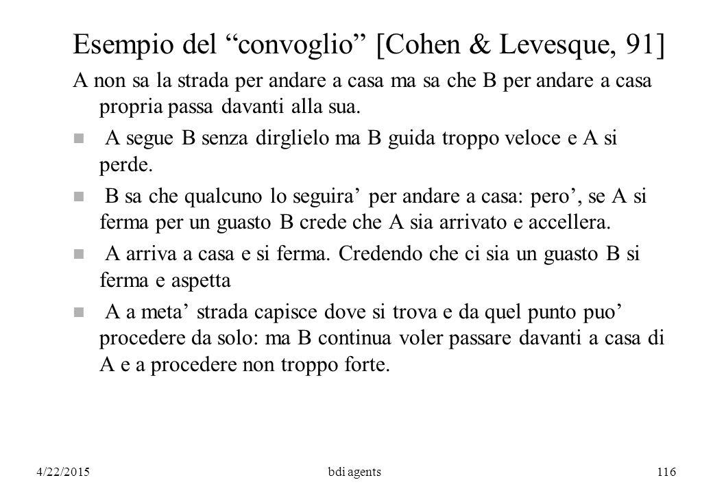 4/22/2015bdi agents116 Esempio del convoglio [Cohen & Levesque, 91] A non sa la strada per andare a casa ma sa che B per andare a casa propria passa davanti alla sua.