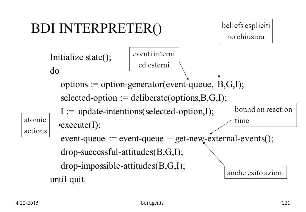 4/22/2015bdi agents121 BDI INTERPRETER() Initialize state(); do options := option-generator(event-queue, B,G,I); selected-option := deliberate(options,B,G,I); I :=update-intentions(selected-option,I); execute(I); event-queue := event-queue + get-new-external-events(); drop-successful-attitudes(B,G,I); drop-impossible-attitudes(B,G,I); until quit.