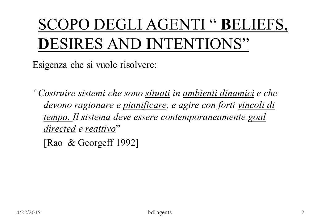 4/22/2015bdi agents113 INTENDING ACTIONS Intend1 x (a)  P-Goal x [done x (Bel x (happens x (a;P?))?;a;P?)] a1a1...