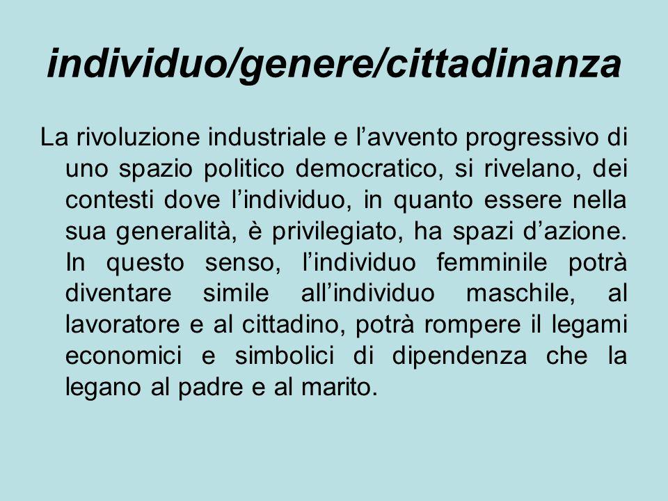 individuo/genere/cittadinanza La rivoluzione industriale e l'avvento progressivo di uno spazio politico democratico, si rivelano, dei contesti dove l'individuo, in quanto essere nella sua generalità, è privilegiato, ha spazi d'azione.