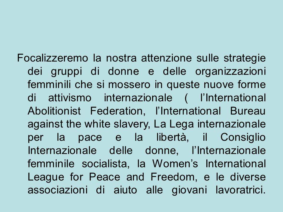 Indagheremo, poi, sull'articolazione tra le mobilitazioni internazionali e i vari contesti nazionali in cui le donne e loro movimenti si trovarono ad agire.