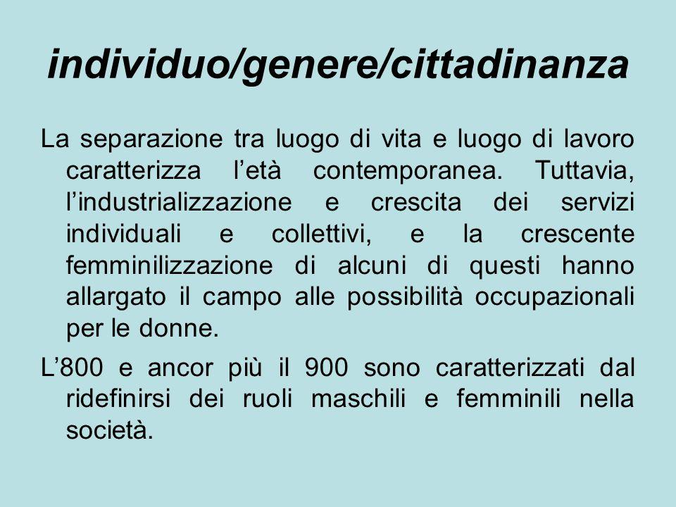 individuo/genere/cittadinanza La separazione tra luogo di vita e luogo di lavoro caratterizza l'età contemporanea.