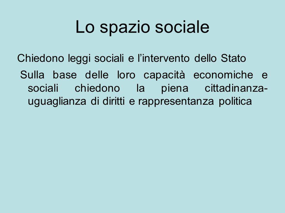 Lo spazio sociale Chiedono leggi sociali e l'intervento dello Stato Sulla base delle loro capacità economiche e sociali chiedono la piena cittadinanza- uguaglianza di diritti e rappresentanza politica