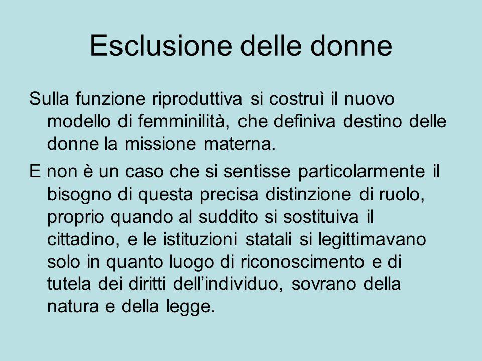 Esclusione delle donne Sulla funzione riproduttiva si costruì il nuovo modello di femminilità, che definiva destino delle donne la missione materna.