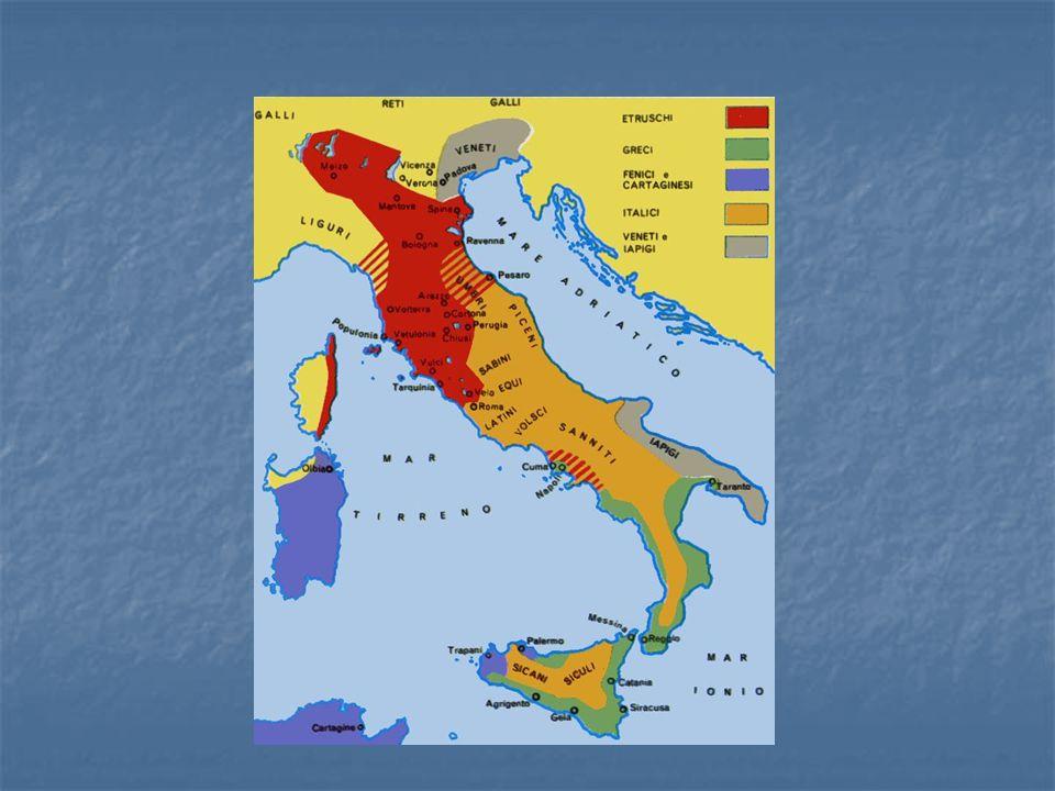 Gli Etruschi Furono la popolazione più importante Furono la popolazione più importante Di origine misteriosa, forse erano i Tursha, provenienti dalle steppe orientali al tempo dell'invasione dorica della Grecia Di origine misteriosa, forse erano i Tursha, provenienti dalle steppe orientali al tempo dell'invasione dorica della Grecia Si stanziarono in Toscana e in alto Lazio Si stanziarono in Toscana e in alto Lazio Nel 500 erano all'apice e arrivarono a occupare quasi tutta la pianura padana e la Campania Nel 500 erano all'apice e arrivarono a occupare quasi tutta la pianura padana e la Campania