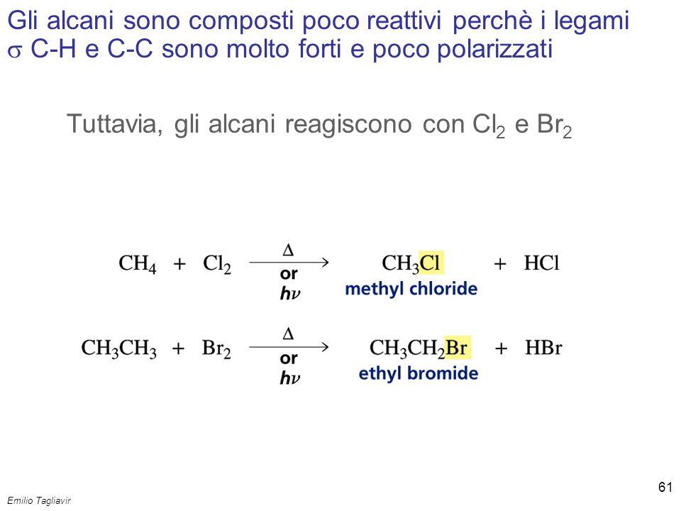Emilio Tagliavini Chimica Organica TeCoRe - 2007/08 61 Gli alcani sono composti poco reattivi perchè i legami  C-H e C-C sono molto forti e poco pola