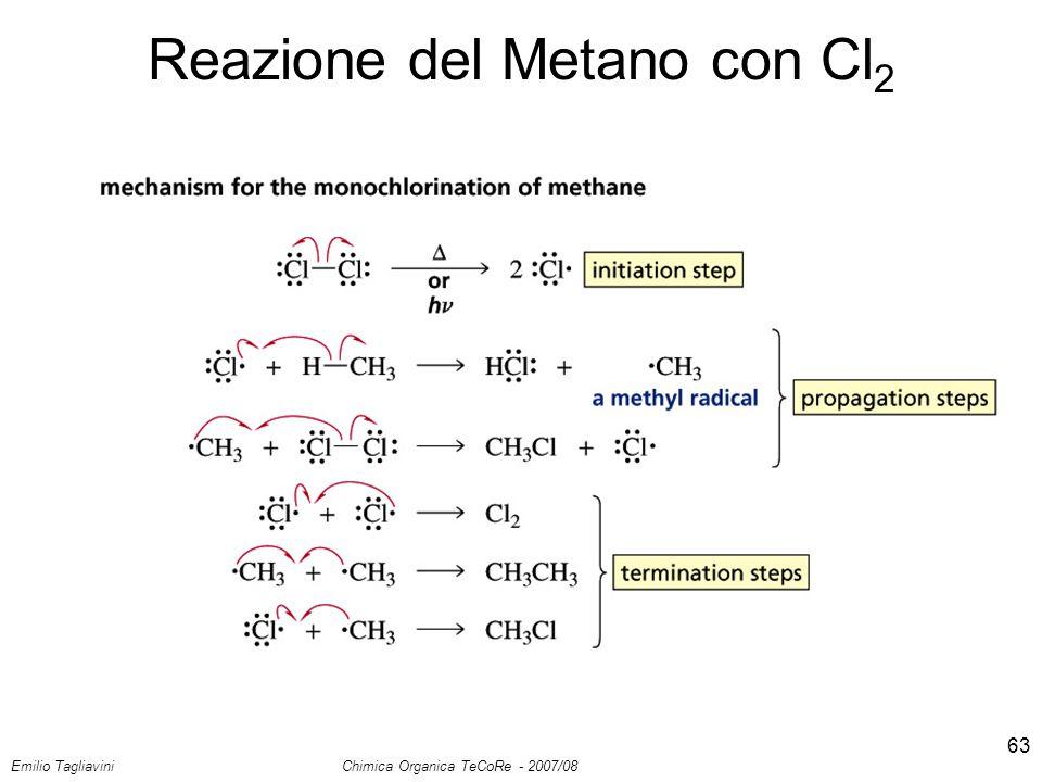 Emilio Tagliavini Chimica Organica TeCoRe - 2007/08 63 Reazione del Metano con Cl 2