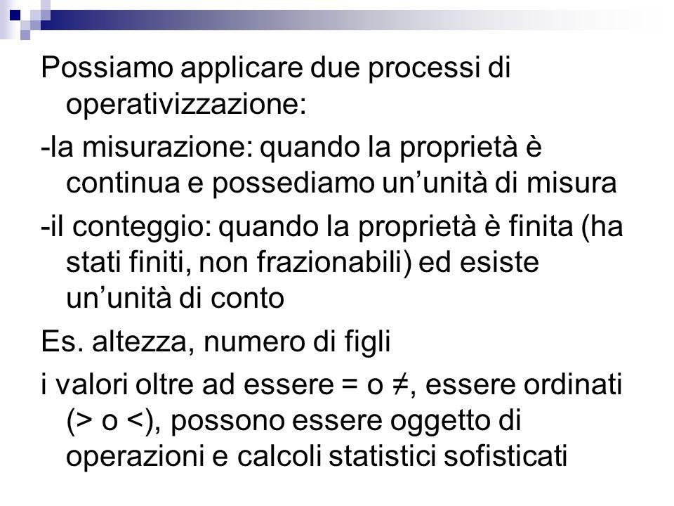 Possiamo applicare due processi di operativizzazione: -la misurazione: quando la proprietà è continua e possediamo un'unità di misura -il conteggio: q