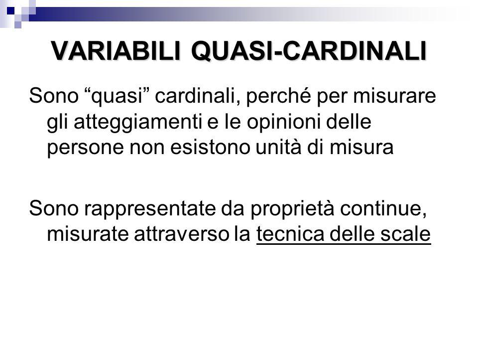 """VARIABILI QUASI-CARDINALI Sono """"quasi"""" cardinali, perché per misurare gli atteggiamenti e le opinioni delle persone non esistono unità di misura Sono"""