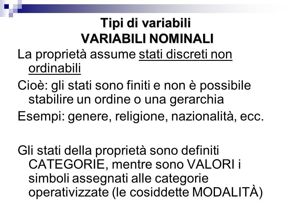 Tipi di variabili VARIABILI NOMINALI La proprietà assume stati discreti non ordinabili Cioè: gli stati sono finiti e non è possibile stabilire un ordi