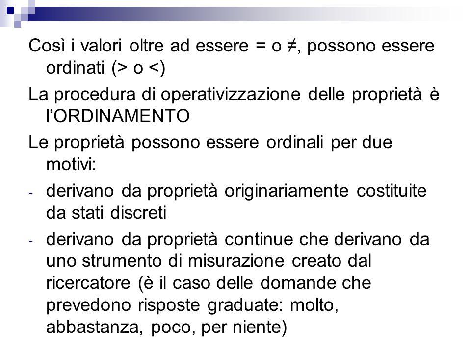 Così i valori oltre ad essere = o ≠, possono essere ordinati (> o <) La procedura di operativizzazione delle proprietà è l'ORDINAMENTO Le proprietà po
